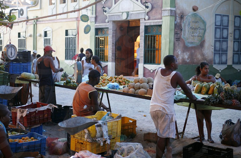 the market in the village on the Gran Roque Island at the Los Roques Islands in the caribbean sea of Venezuela. photo