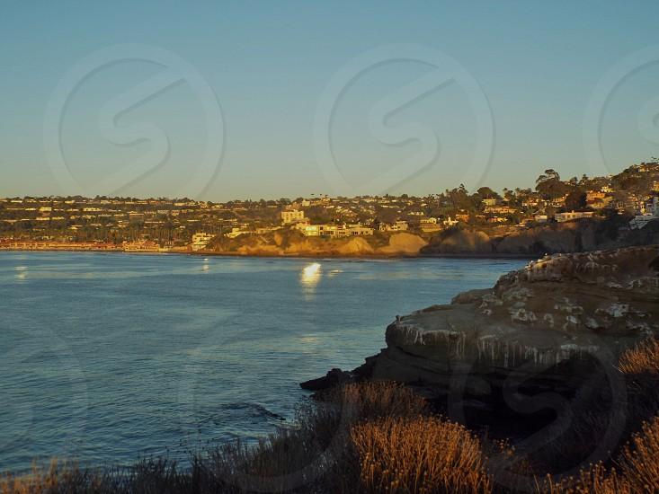 Coastline in La Jolla area of San Diego CA near sunset photo
