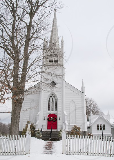 New England churches Winter snow photo