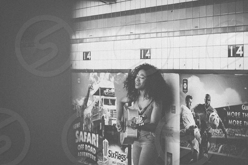 Street performer in the NYC subway station. photo