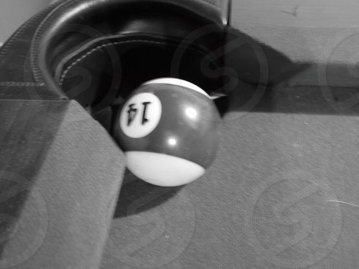 14 billiard ball near corner pocket photo