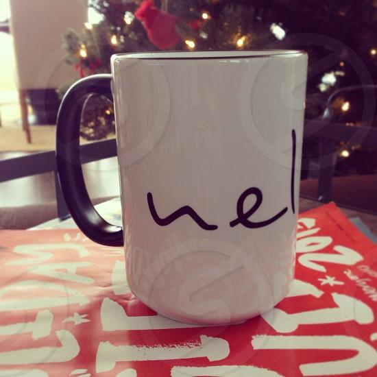 black handled white ceramic mug photo