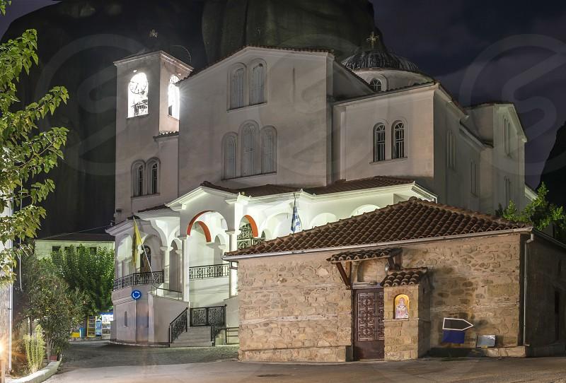Church in Meteora in the night. Greece Meteora photo