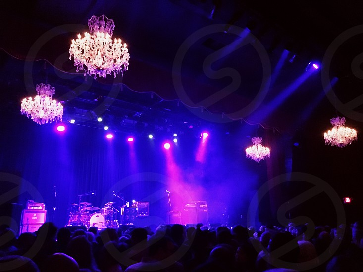 Stage lights crowd and chandeliers at The Fillmore San Francisco concert music venue  photo