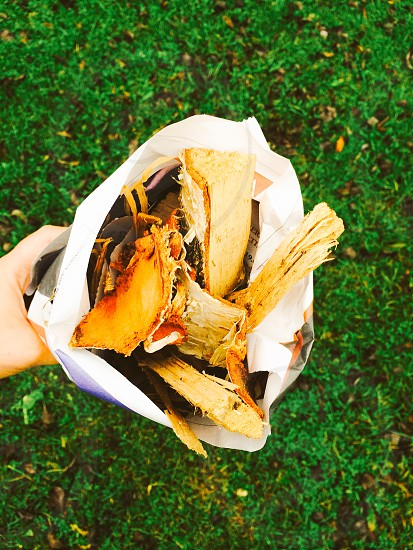 hand giving away a bouquet of fire wood wrapped in paper grass bakground diversity photo