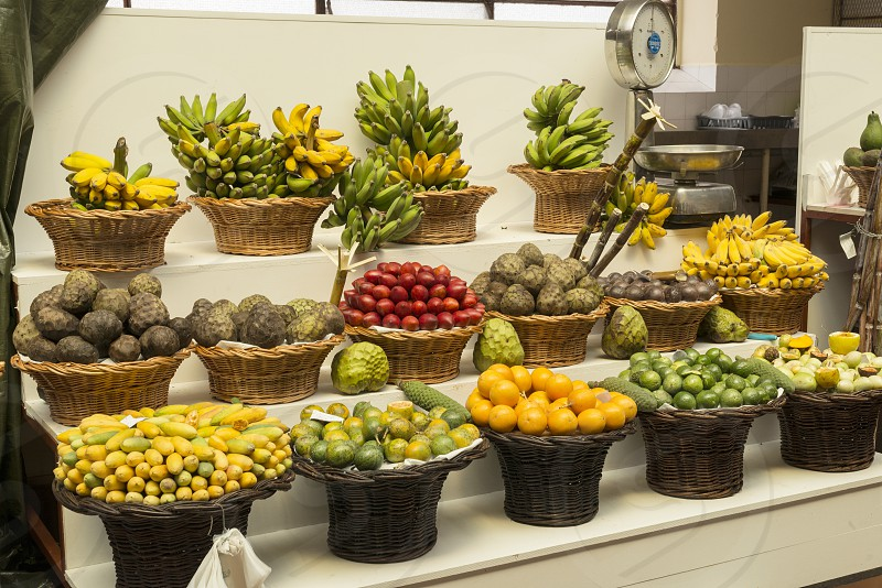 fresh fruit in the market hall of Funchal in Madeira portugal island photo