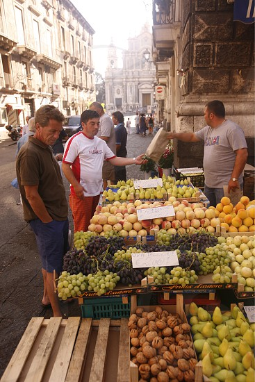 the fegetable and food Market in the old Town of Catania in Sicily in south Italy in Europe. photo