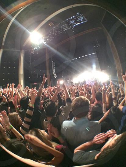 Non edited concert hands fisheye photo