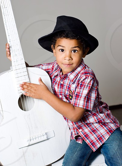 Little cute boy and guitar music classic baby   photo