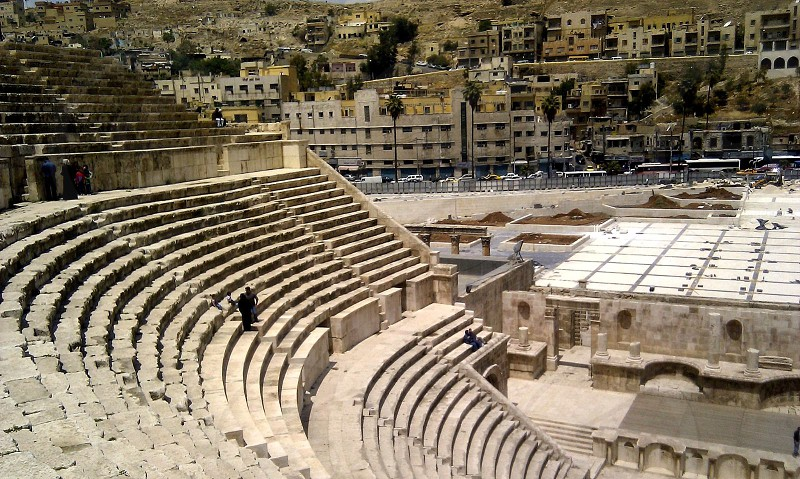 The Roman Theatre Amman Jordan  steps steep architecture ancient photo
