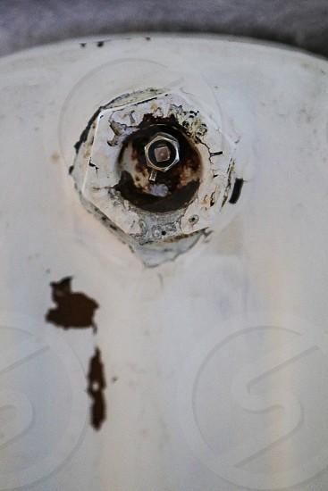 Detail details old rust rusty heat  heater white rustic radiator still life indoors design interior shabby chic  background  wallpaper  water nut screw nut  screw photo