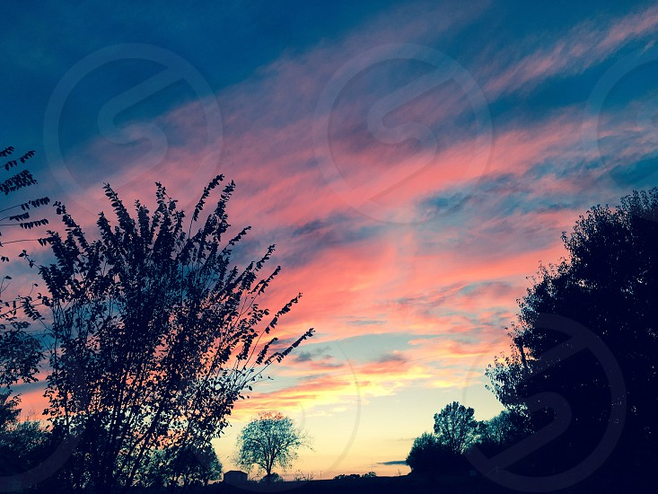 Sky Sunset Clouds Trees Fall Countryside Country photo