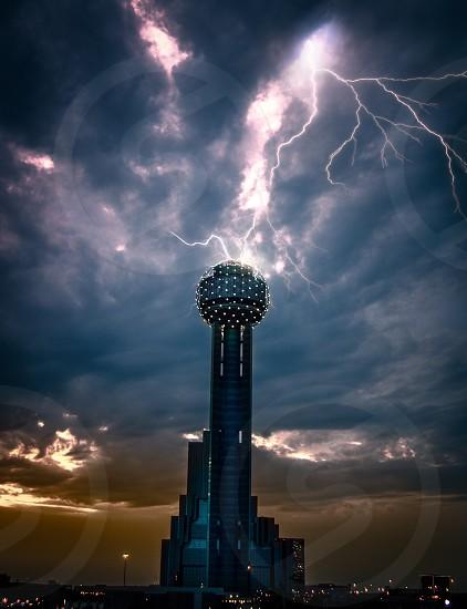 Dallas Texas city cityscape downtown urban tall buildings skyline  sunset light golden hour dusk evening  lightning storm tower electricity  photo