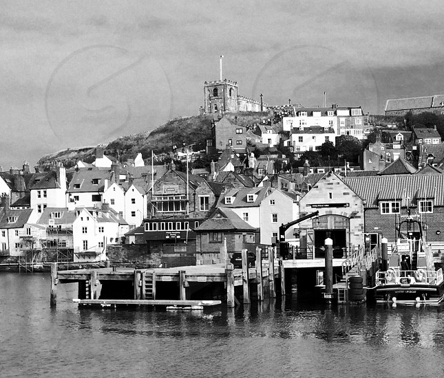 Whitby harbour in the autumn SonyA900 nothing changed except to convert to black and white in Lightroom editing suite  photo