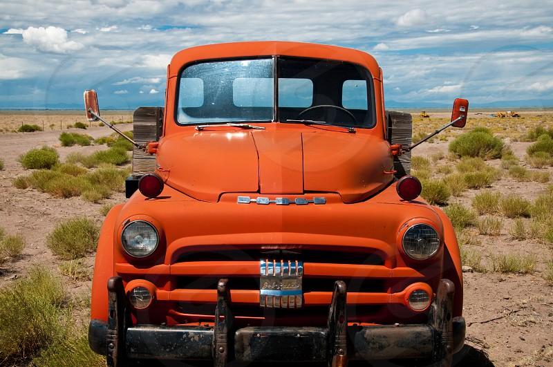 old orange pickup truck photo
