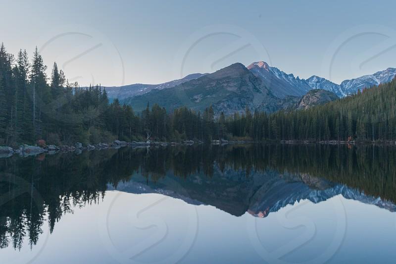 Reflection of Long's Peak in Bear Lake Rocky Mountain National Park Estes Park Colorado. photo