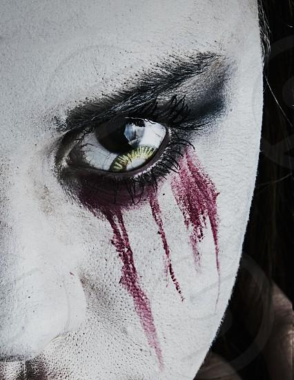 Scary face and eyeball up close.  photo