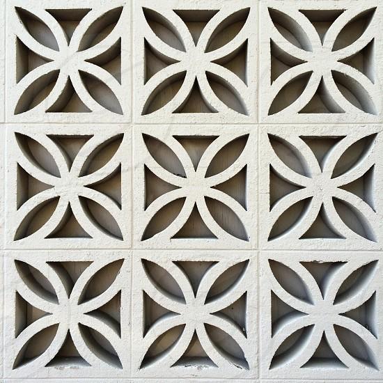Concrete pattern blocks on a midcentury building in Portland Oregon.  photo