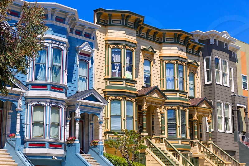 San Francisco Victorian houses in Pacific Heights of California USA photo