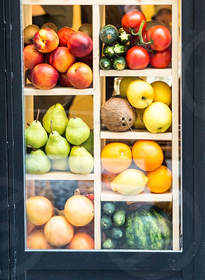 Fresh Fruits Vegetables And Juices In Shop Window photo