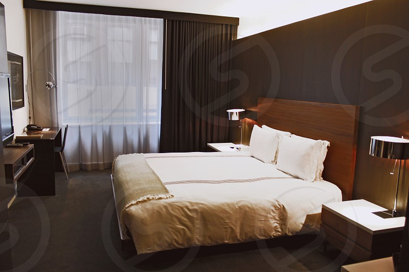 white bed linen photo