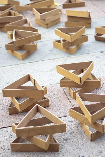 Recycled cardboard boxes with a triangular shape. photo