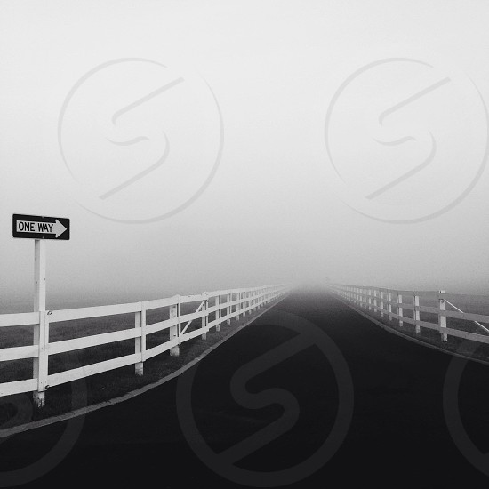 Fog road fence photo