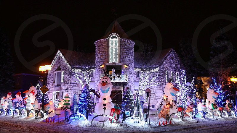 Christmas House in the neighbourhood in the Christmas spirits. Montreal Quebec Canada photo