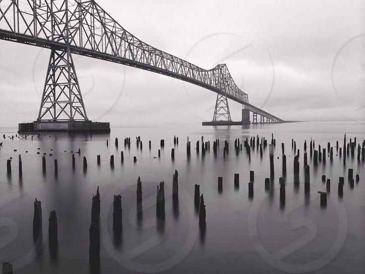view of gray metal bridge photo