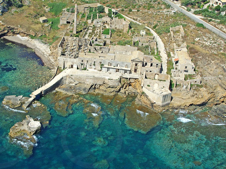 Aerial view of ancient tuna fishery in Porto Palo Capopassero photo