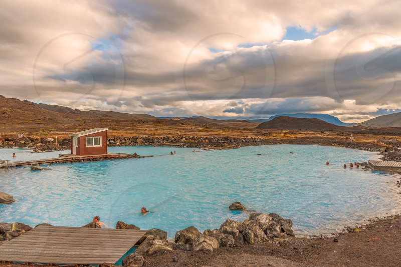 Natural mineral geothermal baths. Mivatn. IcelandWater temperature is 36 to 40 degrees Celsius (97 to 104 degrees Fahrenheit) photo