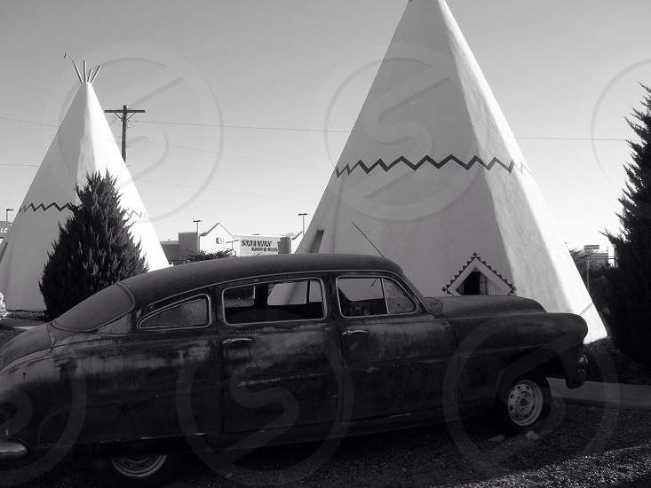 grayscale photo of sedan photo