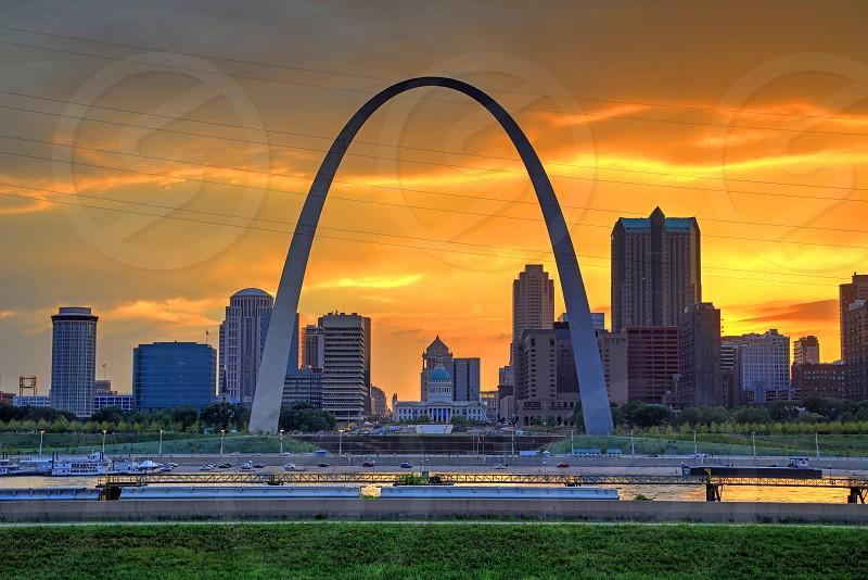Gateway Arch and St. Louis Missouri skyline. photo