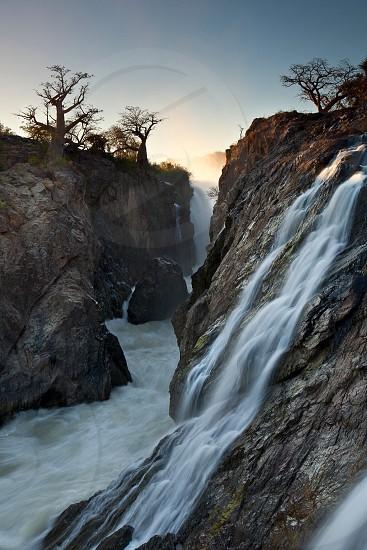 Epupa falls. Long exposure of a waterfall photo