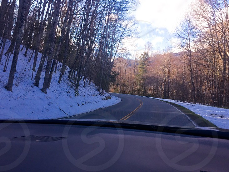 Road Roadtrip Forest Bend Winter Winter forest Mountains Mountain Curve photo