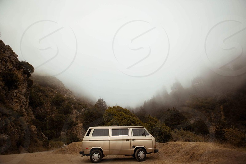 Van Volkswagen fog Big Sur California  the coast  highway 1 explore  photo
