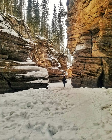 Athabasca Falls Jasper Alberta hiking Winter photo