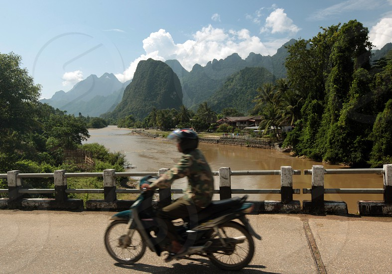 the Landscape near the Village of Kasi on the Nationalroad 13 on the way from Vang Vieng to Luang Prabang in Lao in southeastasia. photo