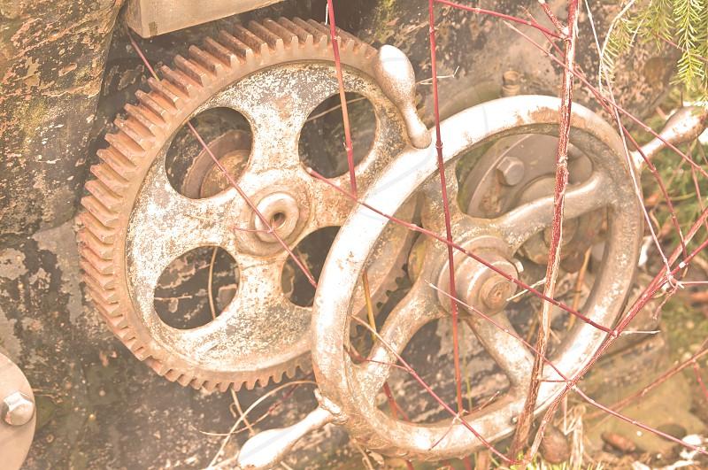 Old rusty gear wheels photo