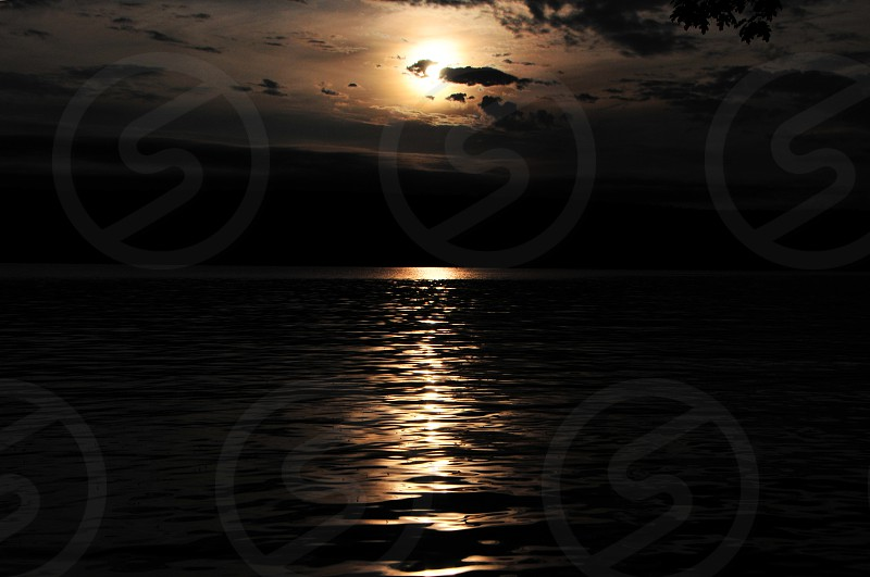 sunset lake water  photo