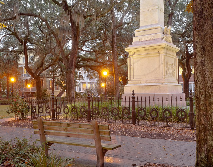 Pulaski Monument on Monterey Square in Historic District of downtown city of Savannah Georgia GA USA photo