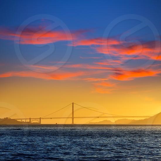 Golden Gate bridge sunset in San Francisco California USA photo