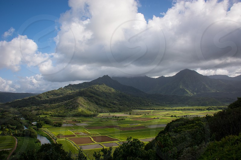 lush green farmland valley tropical mountains blue sky white puffy clouds distant river sunlight photo