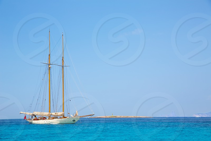 Illetes Illetas Formentera yacht sailboat anchored in turquise Mediterranean photo