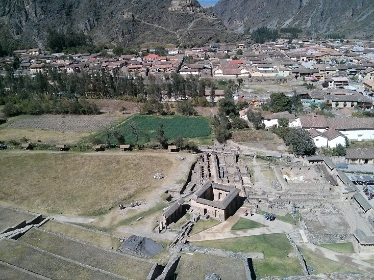 View of andean town of Ollantaytambo in Cuzco Peru from above ruins photo