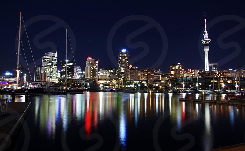 New Zealand Auckland Skyline Night Light Refection Skycity Tower Colors photo