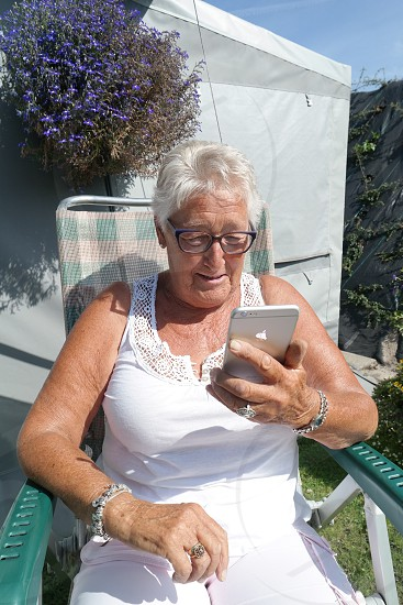 Woman old granny mobile photo