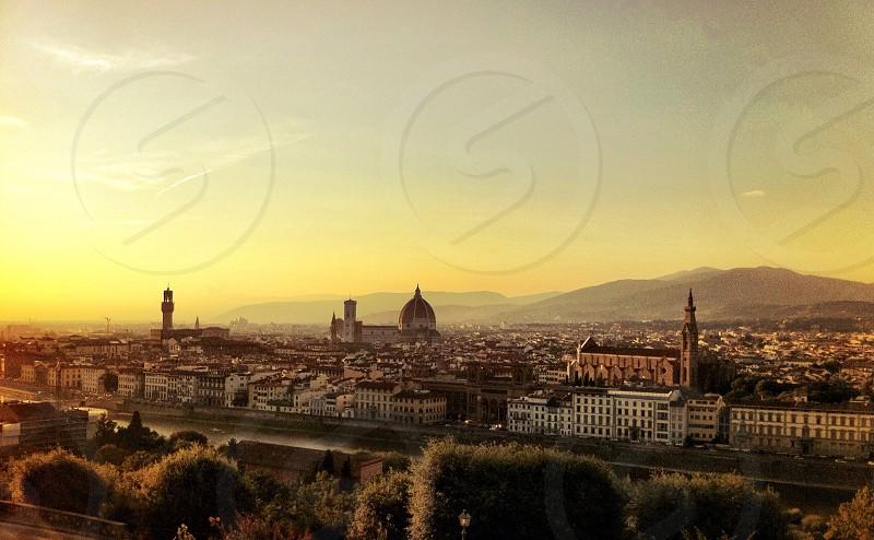italian cityscape at sunset photo