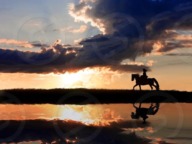 Horse riding horseback sport leisure equine equestrian woman girl teen people person evening sunset sundown sunrise water reflections sea sky clouds horizon seascape scape landscape nature figures animals gallope  photo