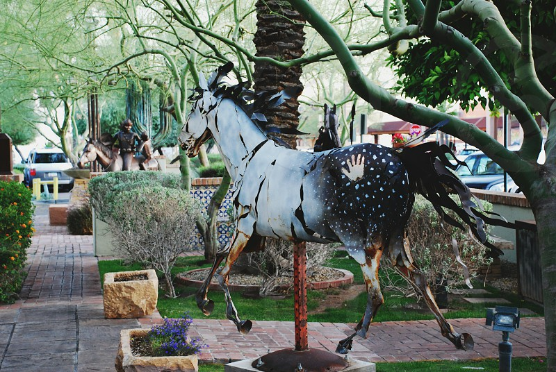 horse sculpture in old town scottsdale photo